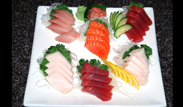 Delicious fresh assortment of sashimi sashimi food