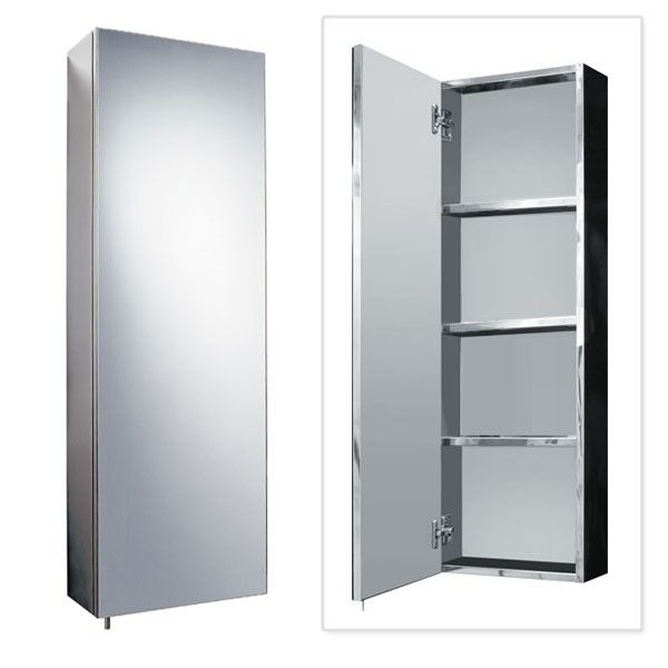 Stainless Steel Tall Mirrored Cabinet