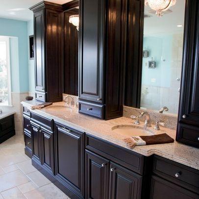Large Elegant Espressostained Wood Penthousestyle Bathroom Vanity - Bathroom vanities northern virginia