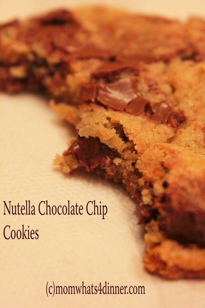 Nutella Chocolate Chip Cookies- I made these tonight before pinning and I am enjoying them! We will see what my husband says when he gets back from running calls.