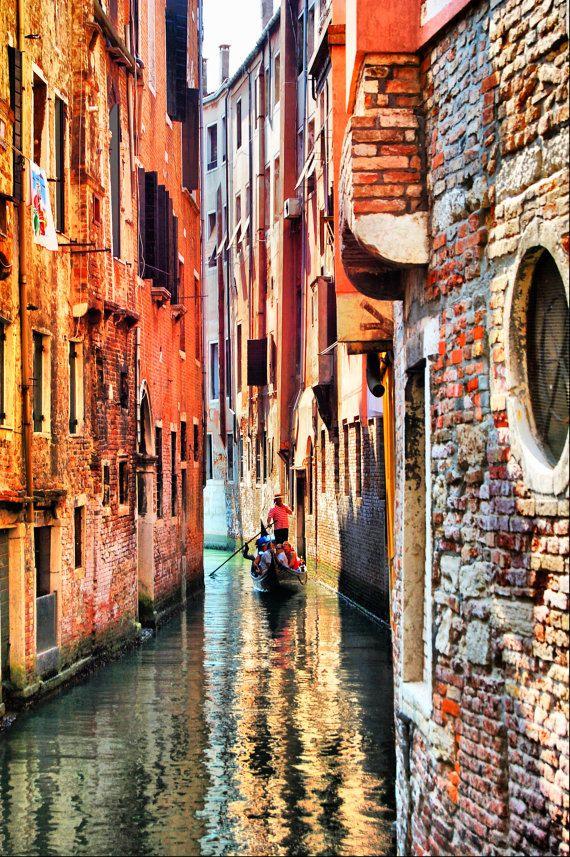 Gondolier in Canal - Venice, Italy -  Fine Art Photography Print - 8x12 - Home Decor via Etsy