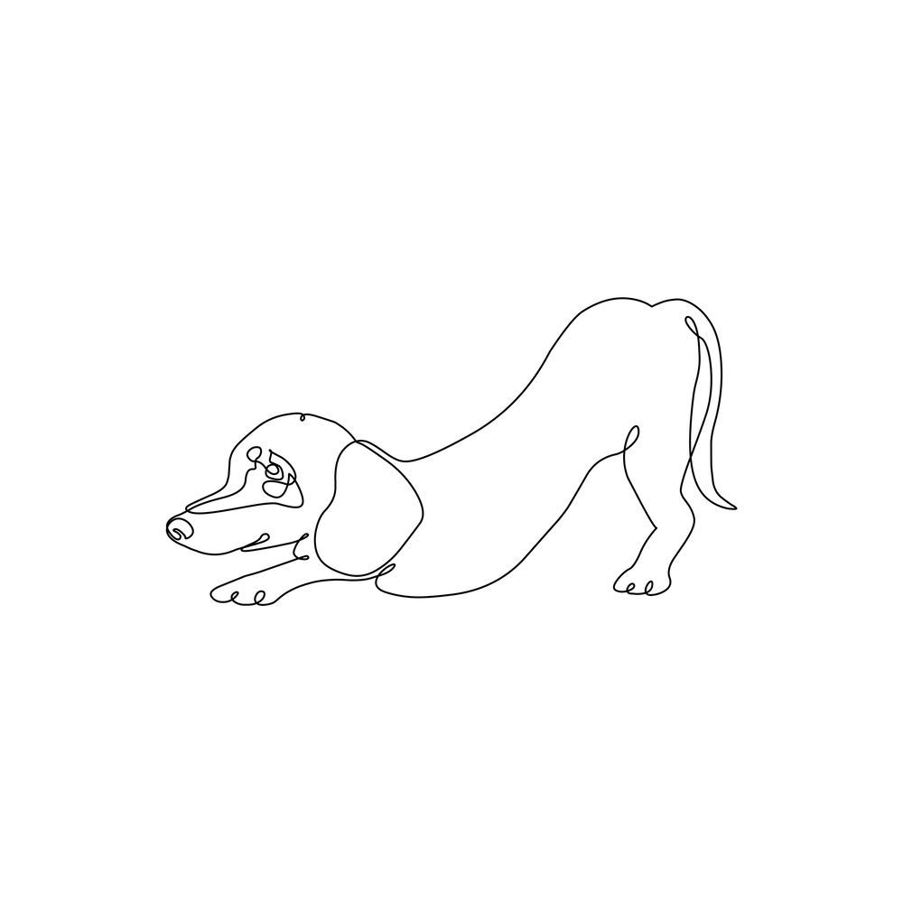 One Line Dachshund Downward Dog Art Print By Huebucket X Small In 2020 Dog Print Art Dog Line Art Line Art Tattoos