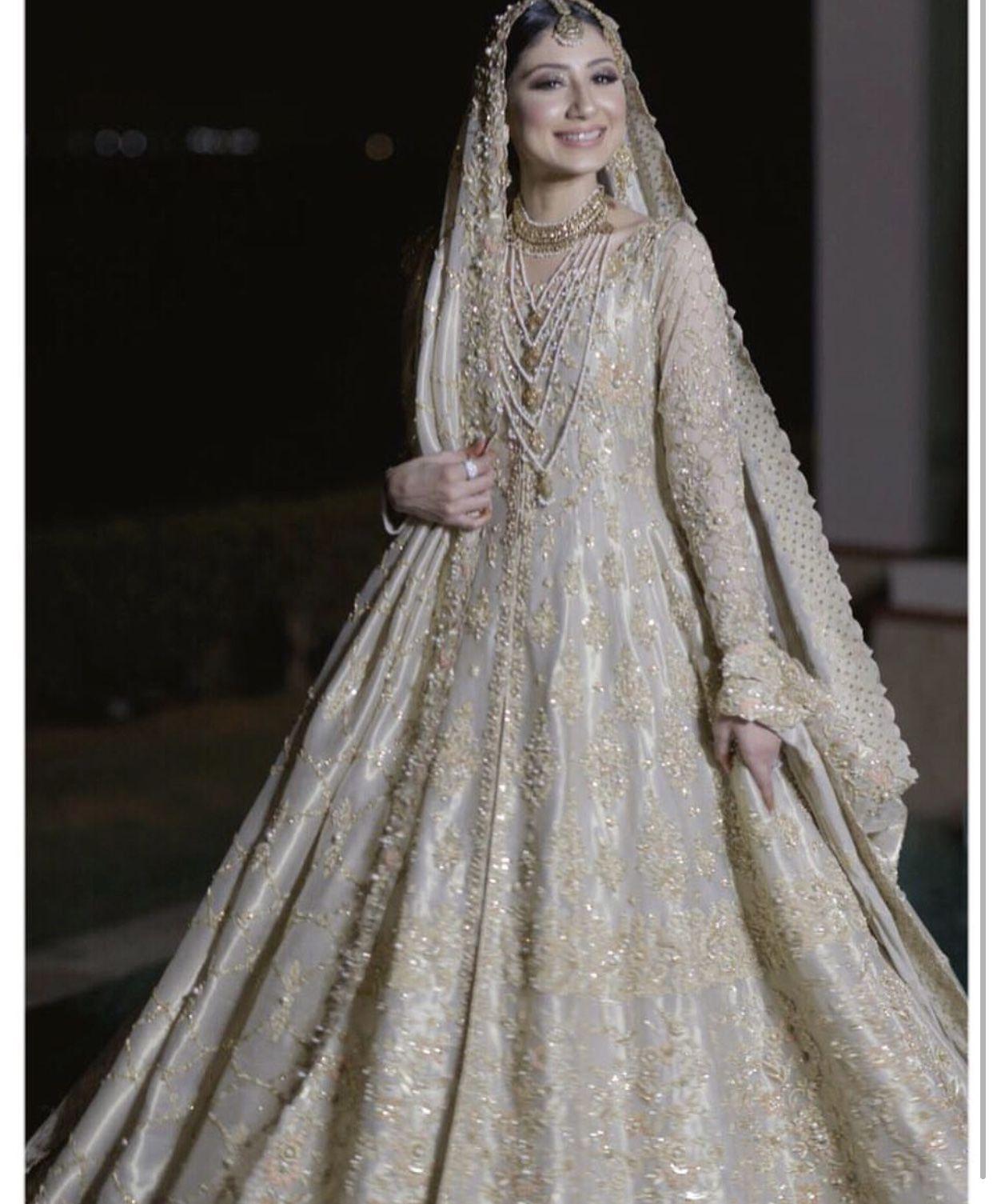 Stunning Off White And Light Gold Anarkali Pakistani Bridal Dresses Pakistani Bridal Wear Desi Wedding Dresses