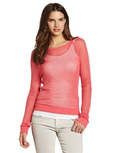 525 America Women's Mesh Pullover Sweater, Tuscan Coral, X-Small ...