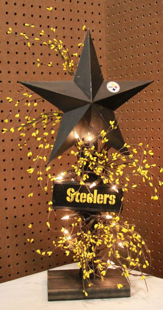 Wooden NFL Steelers Americana Barn Star Berry by