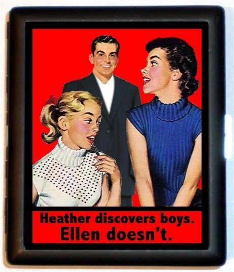 Lesbian Retro Kitsch Cigarette Case Business Card Case Wallet Or Mp3