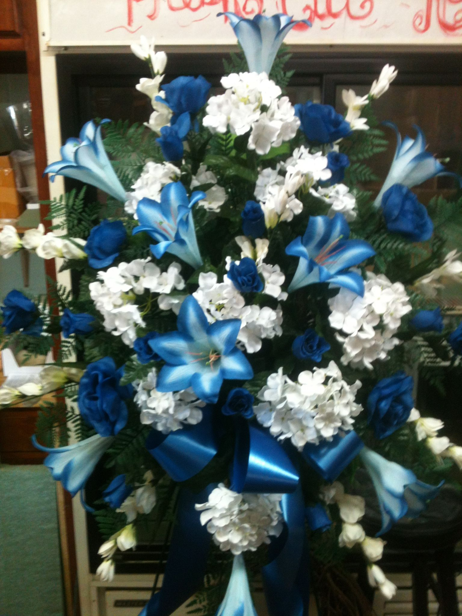 Masculine Silk Funeral Spray Funeral floral arrangements