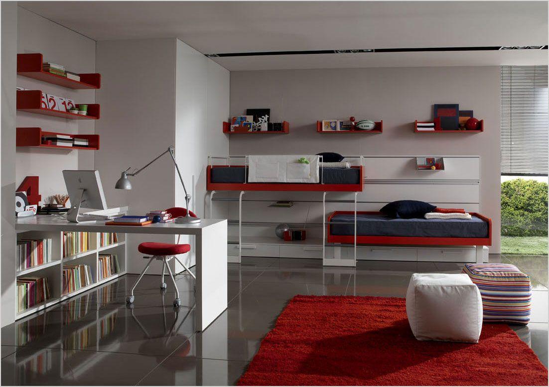 minimalist bunk beds for teen room with red racks and white study desk bookcases - Minimalist Teen Room Interior