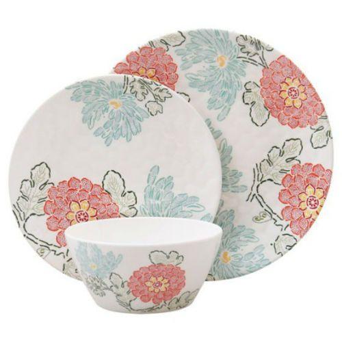 Melamine Floral Round Dinner Service Sets | eBay  sc 1 st  Pinterest & Threshold-Floral-12-Pc-Melamine-Dinnerware-Service-Set-Round-Picnic ...