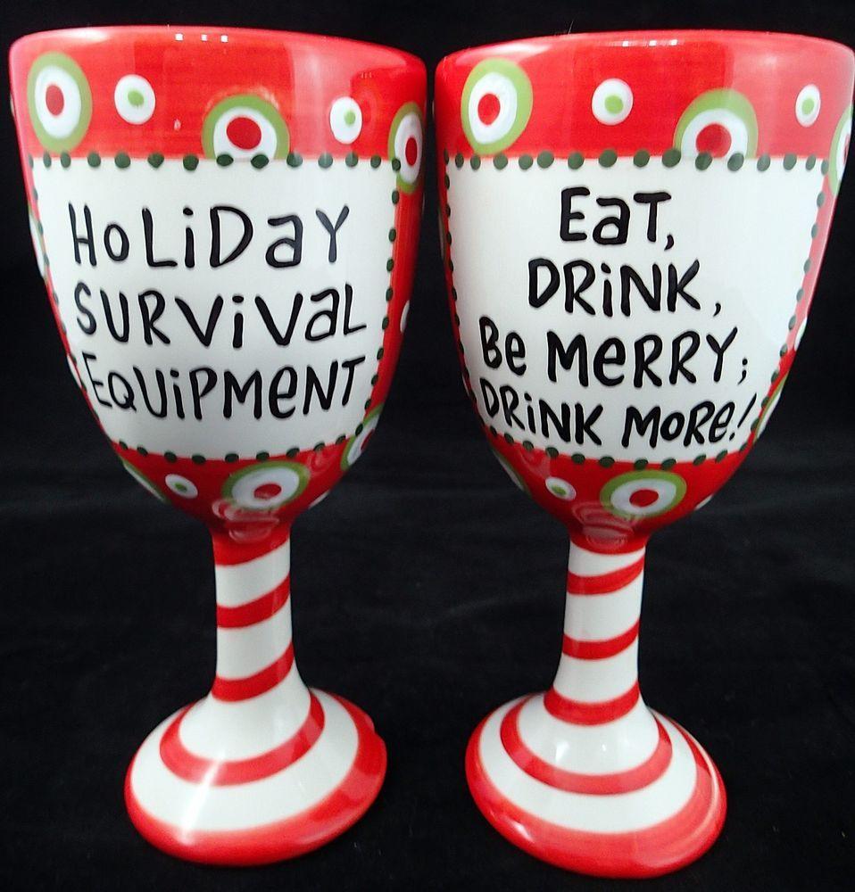 Full Set Of 12 Days Of Christmas Hand Painted Wine Glasses Goblets Block Basics B Christmas Wine Glasses Christmas Glasses Christmas Wine Glasses Hand Painted