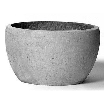 Pot Fibre Diam 37 X H 21 Cm Gris Ciment Home Planter