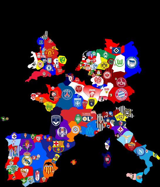 All European soccer team map 축구, 유럽 축구, 스포츠