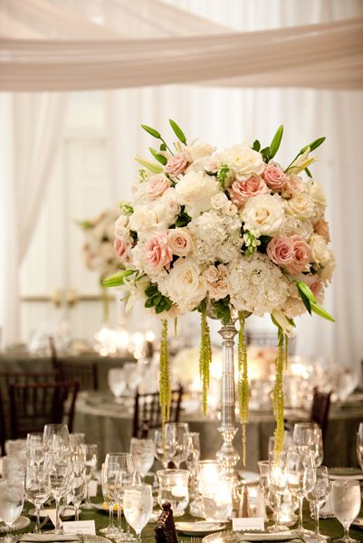 Tall rose hydrangea centerpiece centerpieces