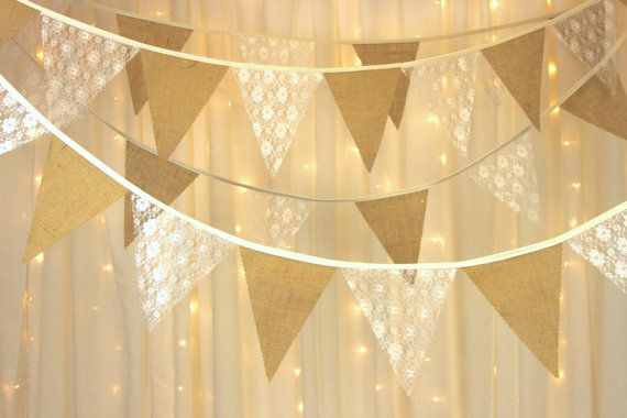 Bunting Golden wedding anniversary gold /& vintage ivory lace  sold by the meter