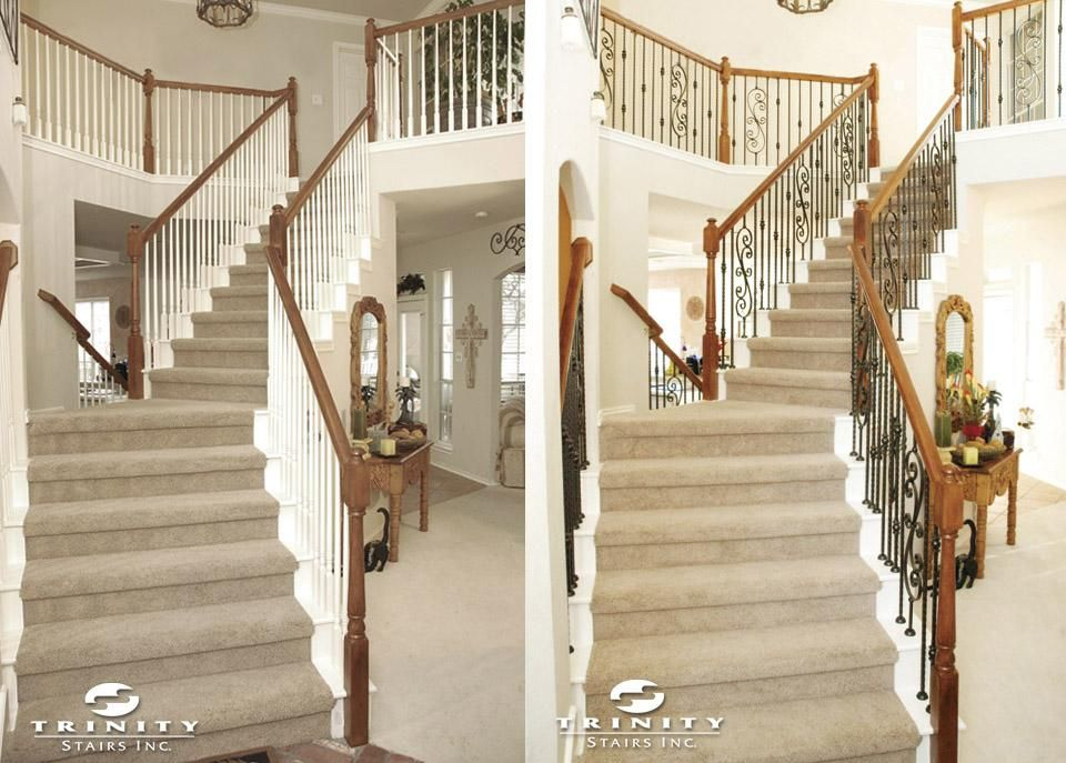 Replace White Spindles With Wrought Iron Stair Makeover Stair | Replacing Wood Spindles With Metal | Stair Spindles | Iron Stair Balusters | Stair Parts | Stair Railing | Staircase
