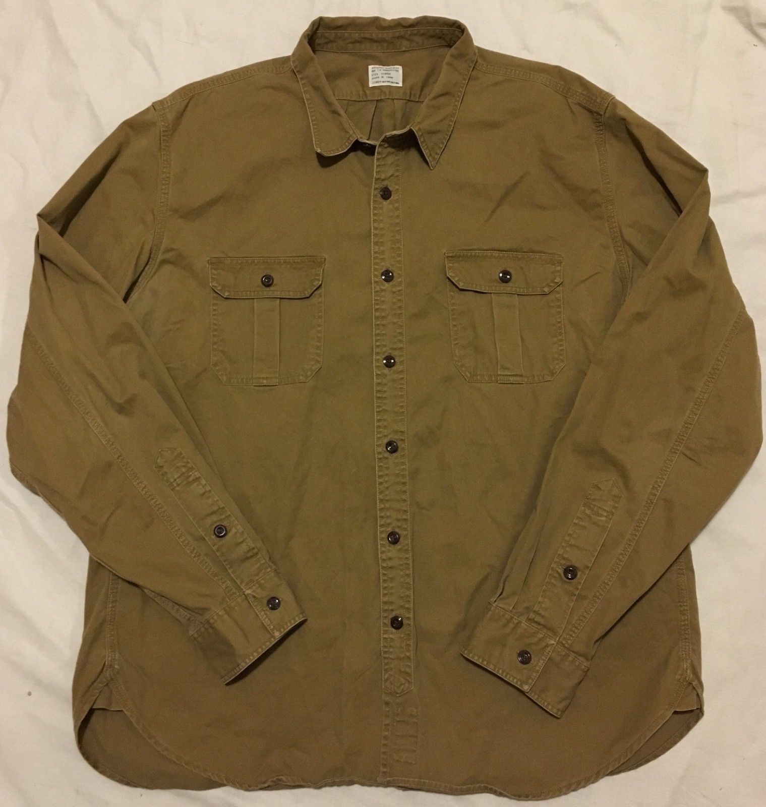 0a9f277c648 J.Crew Authentic Workwear Brown Utility Button Down Shirt Mens Size XL EUC  Work