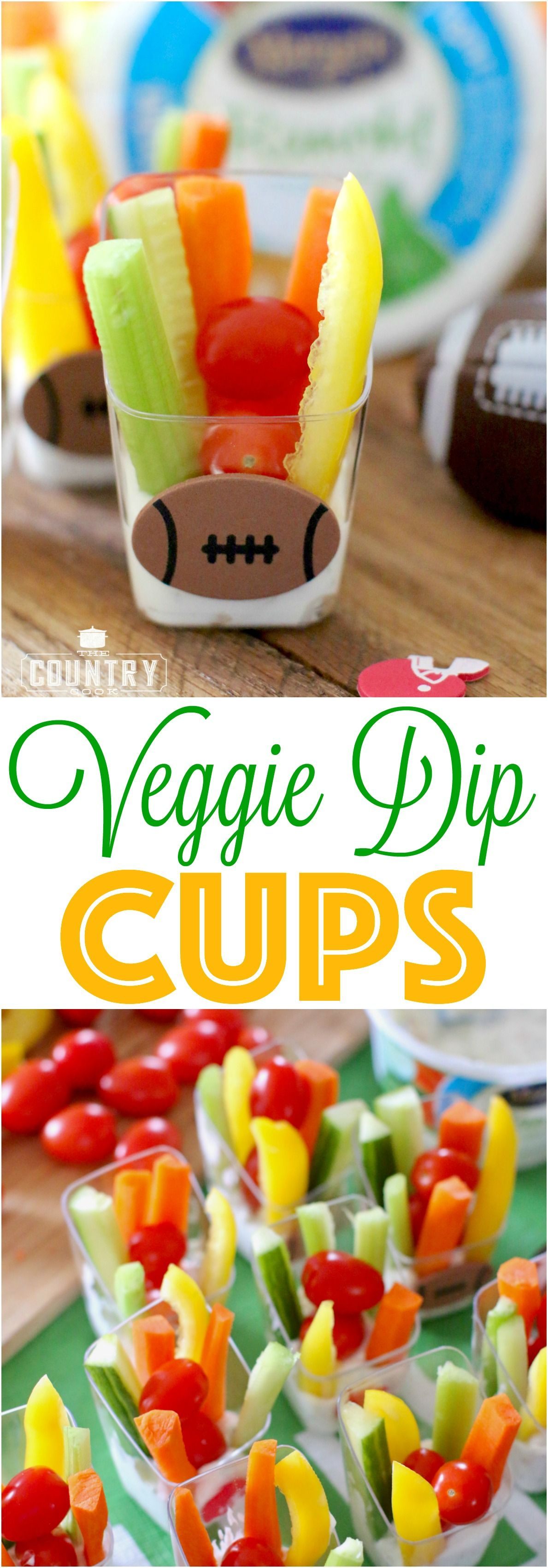 Veggie Dip Cups recipe from The Country Cook. Perfect for tailgating and big game day!