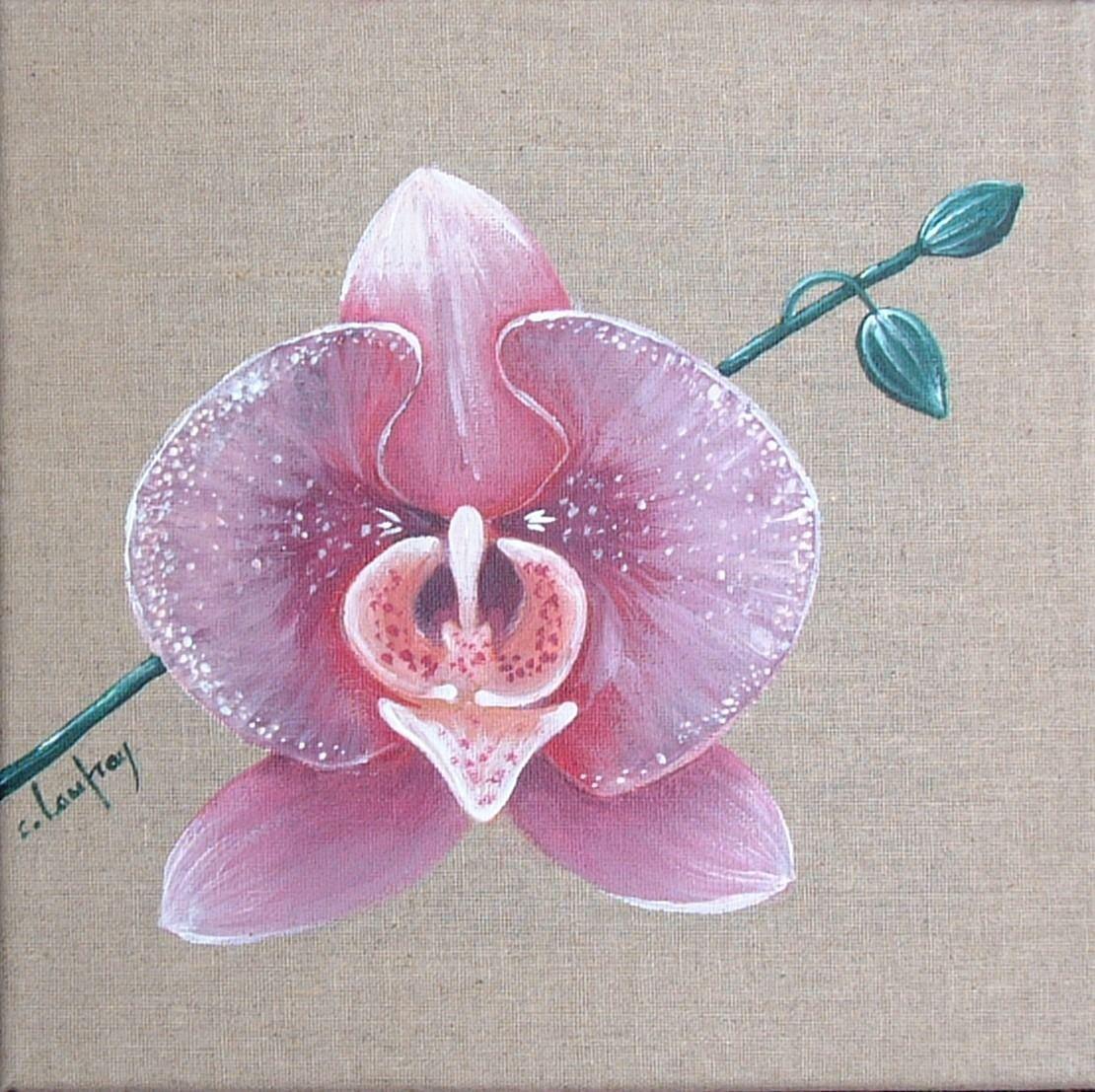 tableau orchid e rose et mauve peinture acrylique sur. Black Bedroom Furniture Sets. Home Design Ideas