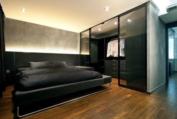 Bedroom With Walk In Closet Design Pleasing Blackbachelorpadbedroomwithwalkincloset  Deco  Pinterest Inspiration