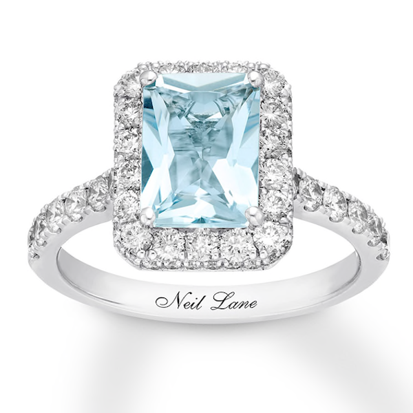 Neil Lane Aquamarine Engagement Ring 1 ct tw Diamonds 14K Gold #aquamarineengagementring