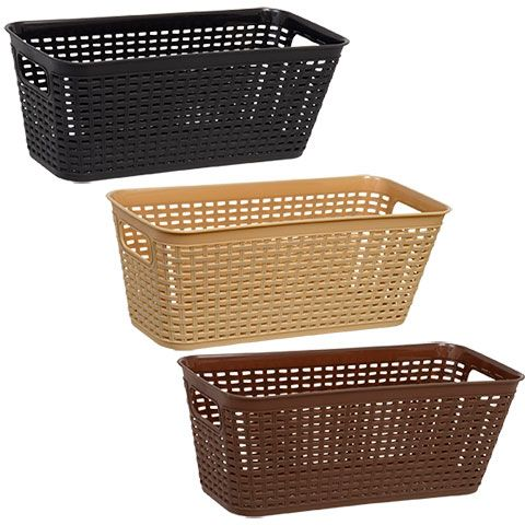 Click Here To Enlarge Essentials Woven Look Plastic Storage Baskets