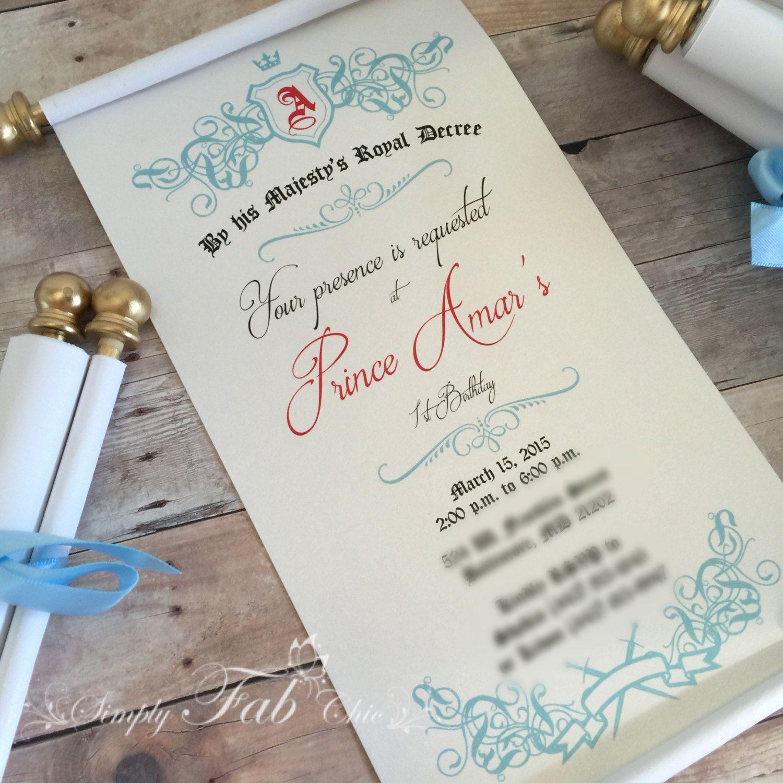 cinderellthemed wedding scroll invitations%0A handmade invitations wedding stationery Royal Prince Princess Scroll  Invitation Birthday Wedding Invitation Handmade Personalized Prince  Invitation