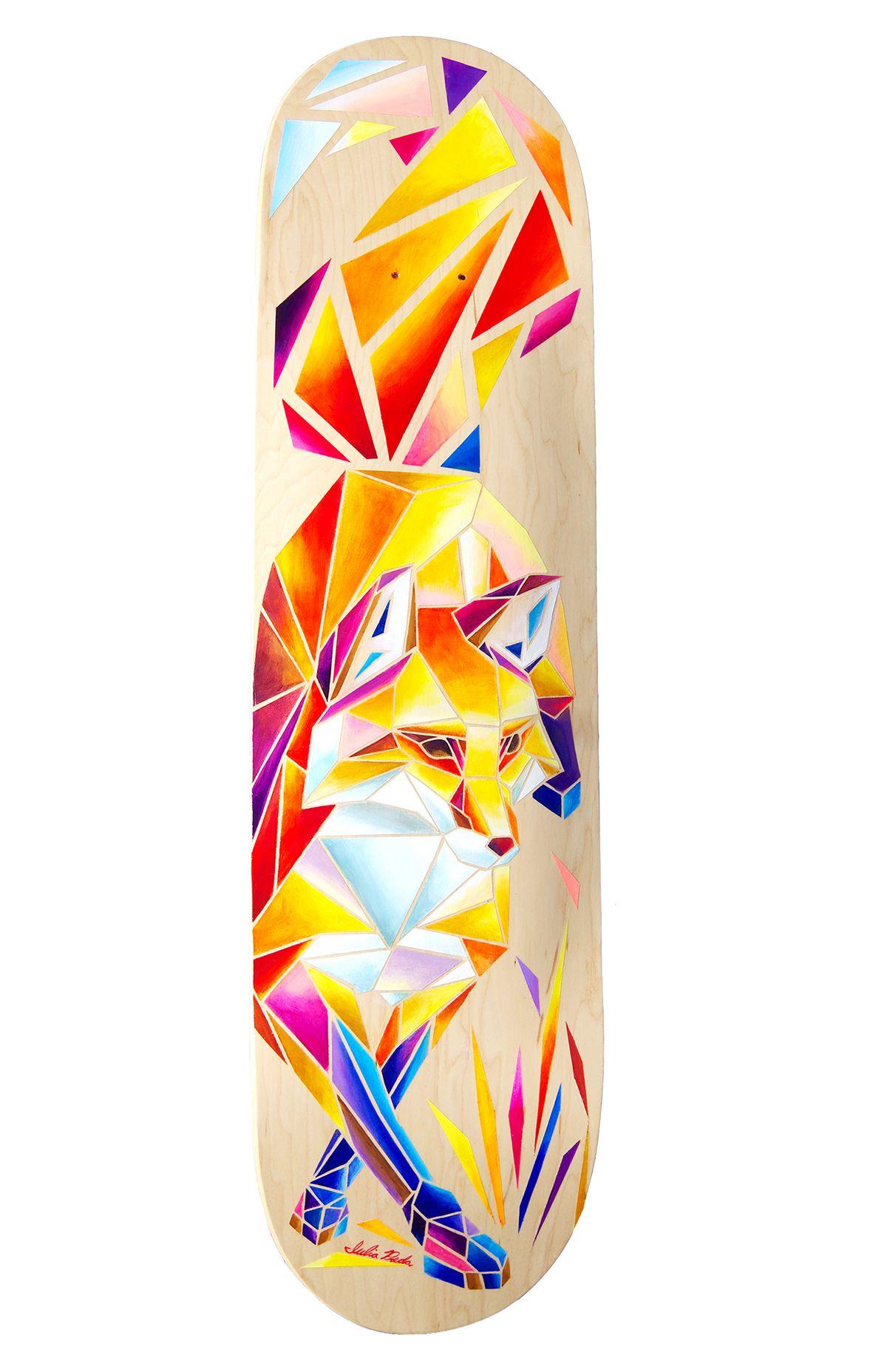 Red Fox Skateboard On Behance Skateboard Deck Art Skateboard Art Design Cool Skateboards