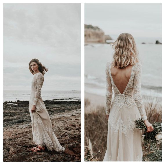 A Favorite Lisa Lace Bohemian Wedding Dress Cotton Lace With Open Back Handmade Long Sleeve Boho Beach Wedding Dress Bohemian Wedding Dress Lace Bohemian Wedding Dress Beach Wedding Dress Boho