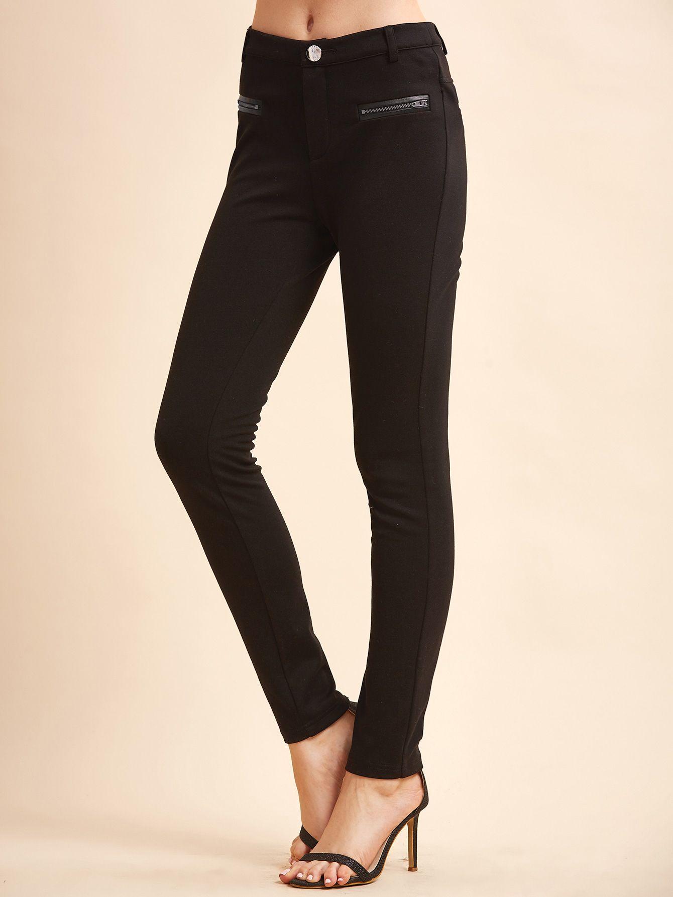 Black Skinny Pants With Zipper Pockets — 19.89 € ----------------color: Black size: L,M,S,XS