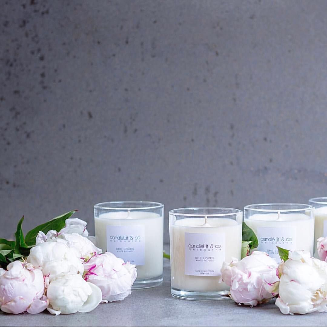 Can't get enough of peonies and this scent sweetly filling up our home this summer  Only a couple left of our best selling scent! @candlelitandco photo by @gracepetrou #candlelitandco #peony #peonies #candle