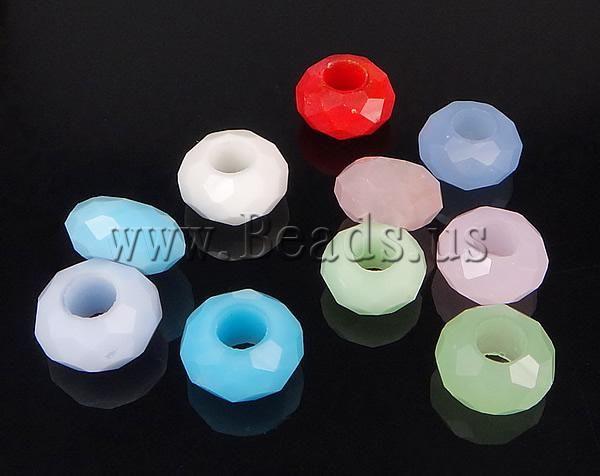 Abalorios De Cristal Estilo Europeo Toroidal Sin Rosca Amp Facetas Color Mixto 8 9x14 15mm