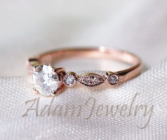 Fancy VS Brilliant Moissanite Ring 14K Rose Gold by AdamJewelry
