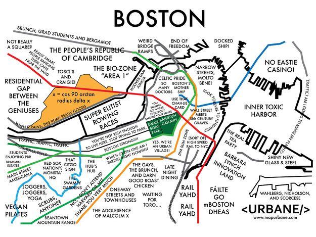 Boston map by stereotypes | Boston | Pinterest