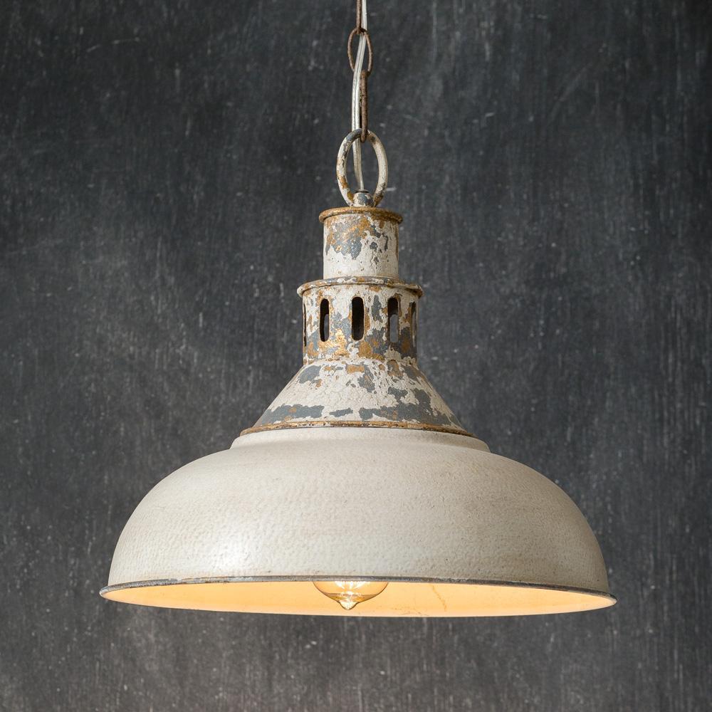 Vintage Farmhouse Pendant Light Distressed White Barn Primitive
