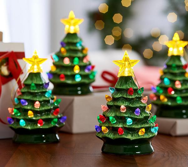 Mr Christmas Set Of 4 Lit Nostalgic Tree Ornaments With Gift Bags Qvc Com Christmas Settings Vintage Inspired Christmas Tree Vintage Inspired Christmas