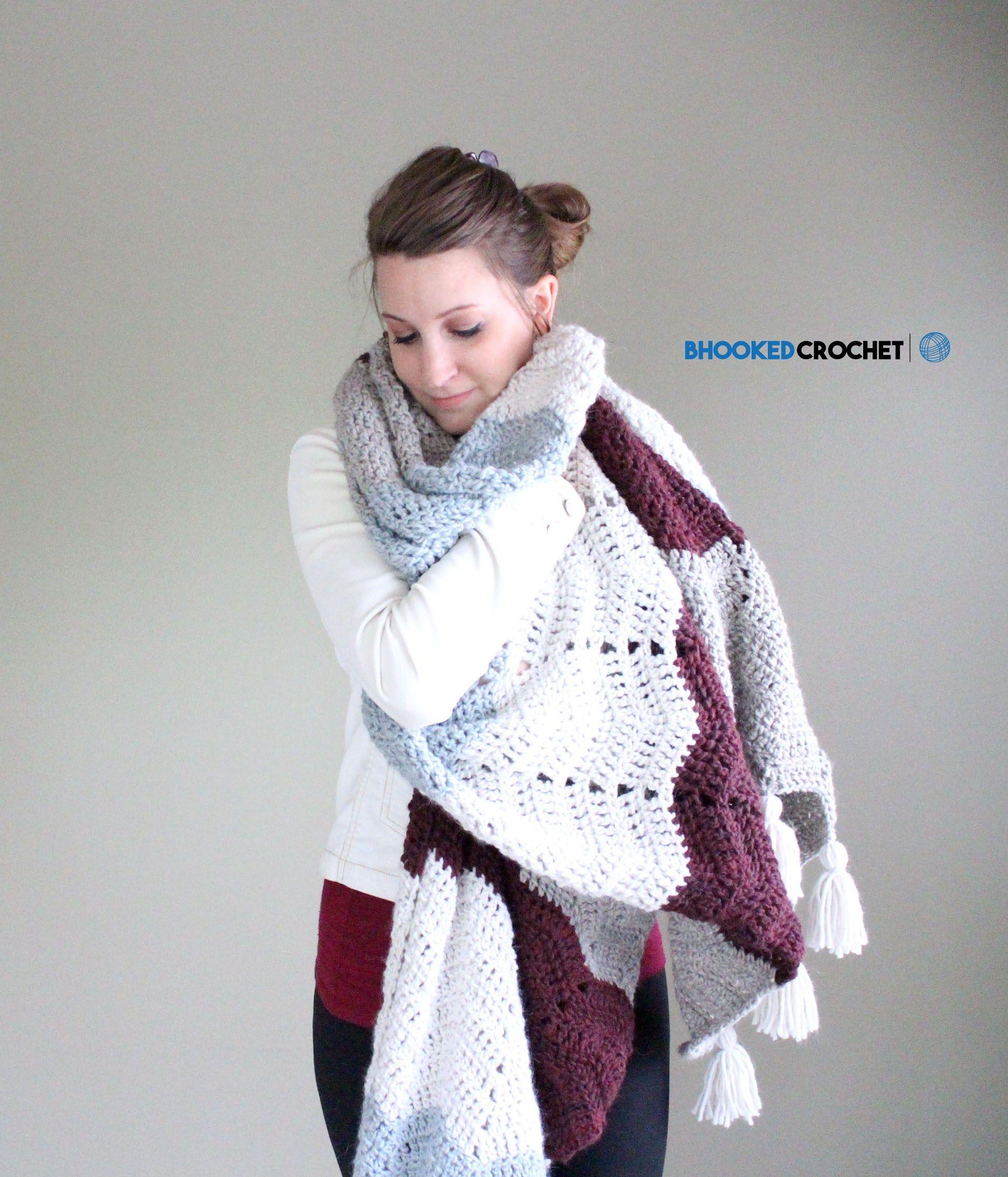 Comfy Chevron Crochet Super Scarf | super size scarf | Pinterest