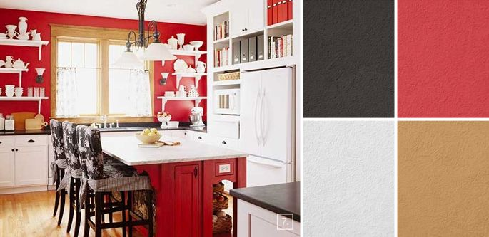 A Palette Guide For Kitchen Color Schemes Decor And Paint Ideas Home Tree Atlas Red And White Kitchen Red Kitchen White Kitchen Design