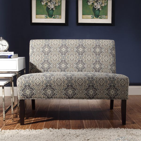 inspire q wicker park blue damask armless loveseat overstock shopping great deals on inspire
