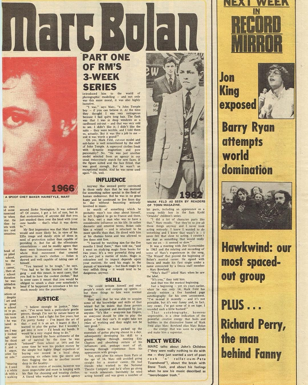 Getiton January 8th 1972 Record Mirror Part Two