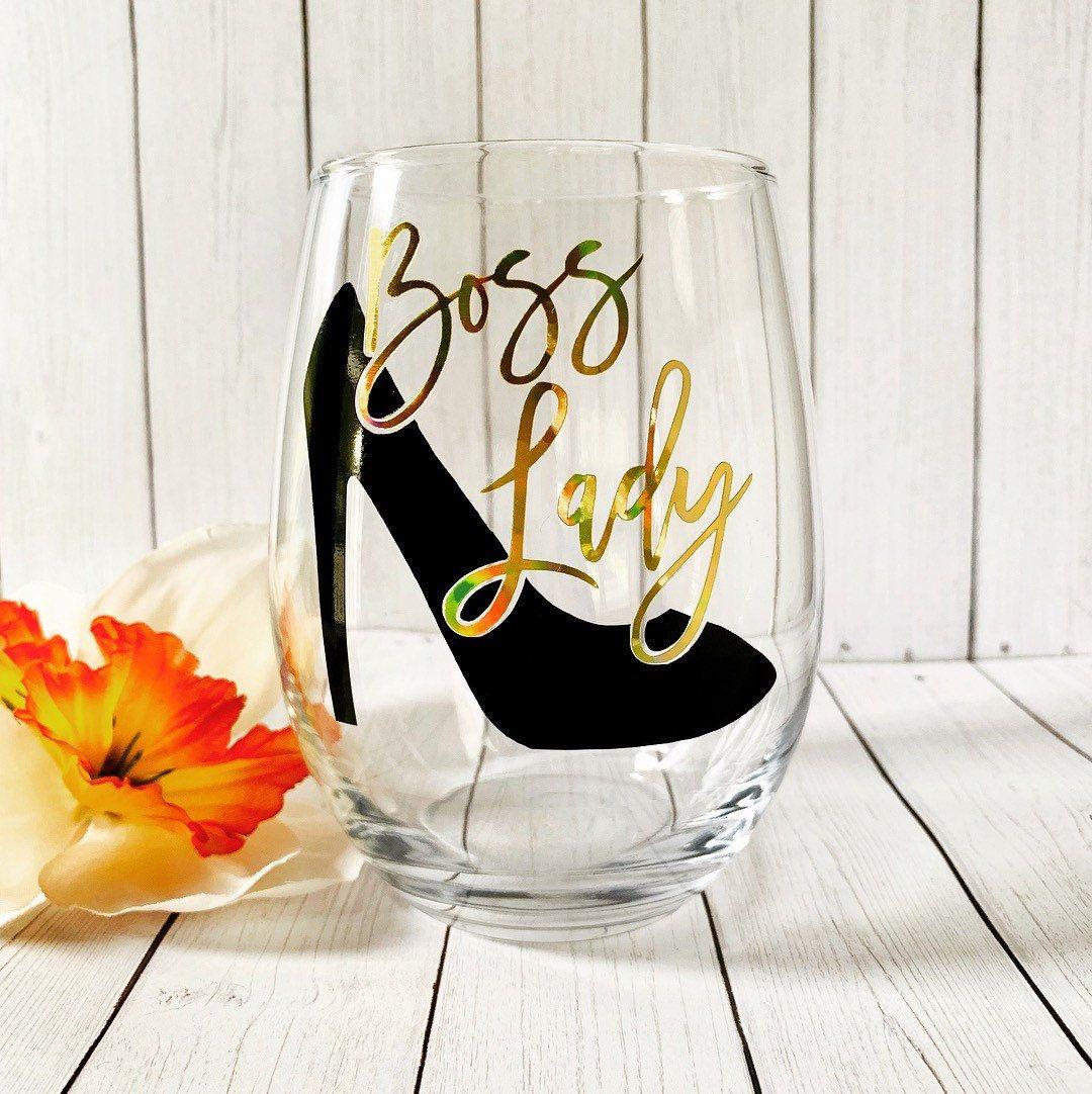 Boss lady stemless wine glass bosss day gift christmas