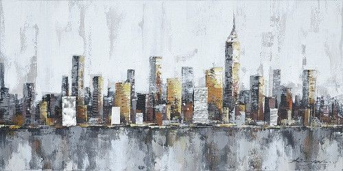 New york city skyline cityscape architecture abstract wall art oil painting on canvas decoration