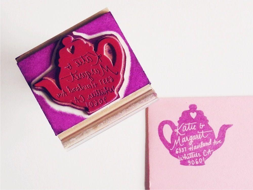 Image of Custom Tea Pot Return Address Stamp