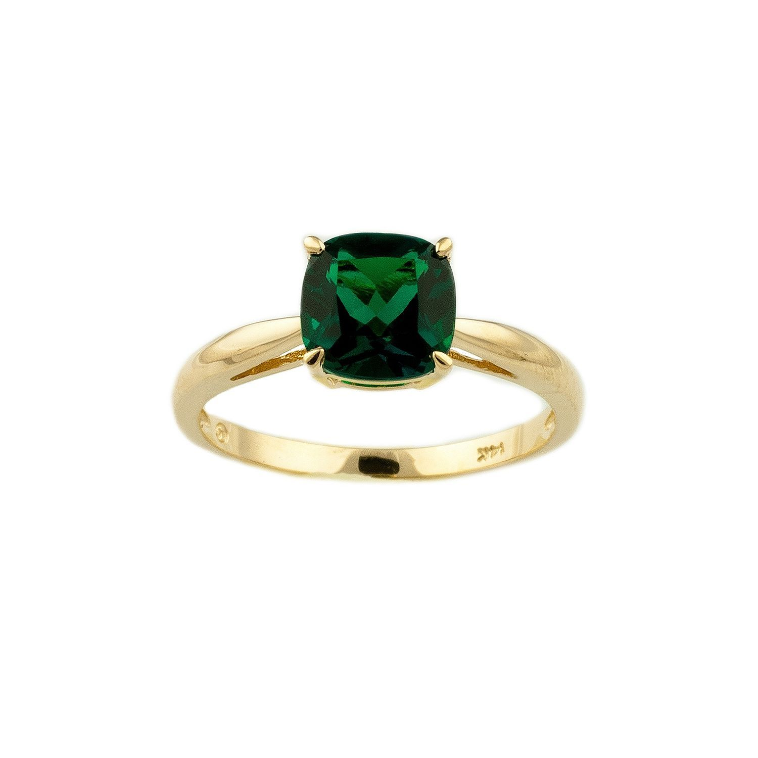 ct cushion lab cut emerald pin in created ring gold yellow