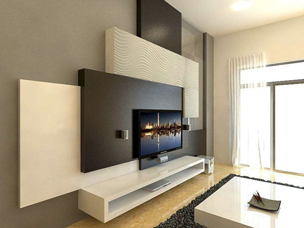 Cool And Creative Wall Tv Ideas To Beautify Your Room To See More Visit Wall Tv Unit Design Wall Unit Designs Living Room Tv Wall