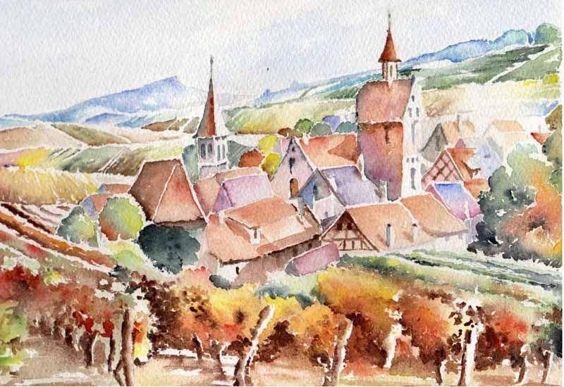 Village Alsacien Jpg Illustration Effet Aquarelle Les Arts