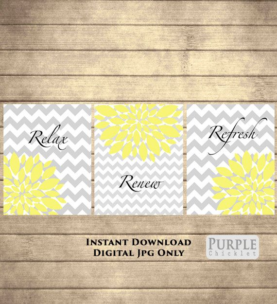 Relax Renew Refresh Yellow Printable Wall art by PurpleChicklet ...