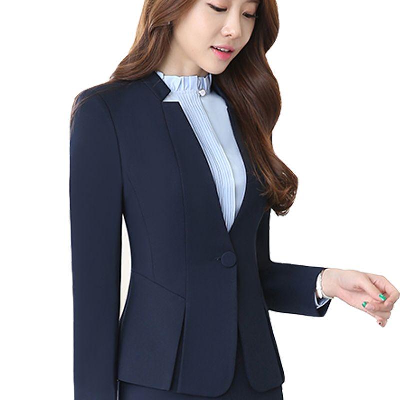34296a5145 ... Ternos Das Senhoras Formal do Escritório Terno de Saia Terno de Negócio  do Sexo Feminino Estilo uniforme Para Trabalhar Mulheres Azuis Blazer  conjunto