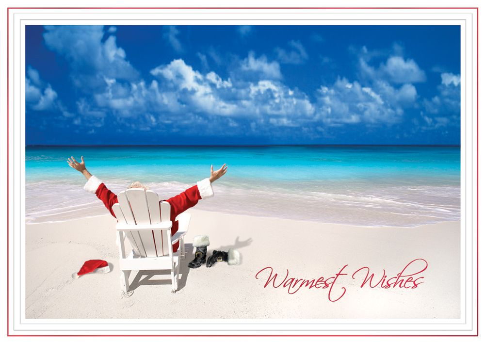 Beach Christmas Cards >> Relaxing Santa Tropical Beach Christmas Cards Advanced Printing