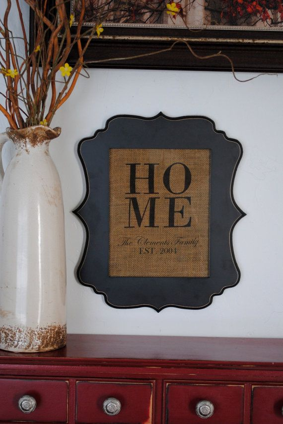 Customized Burlap Sign/ HOME/ home decor/ personalized gift on Etsy, $14.99