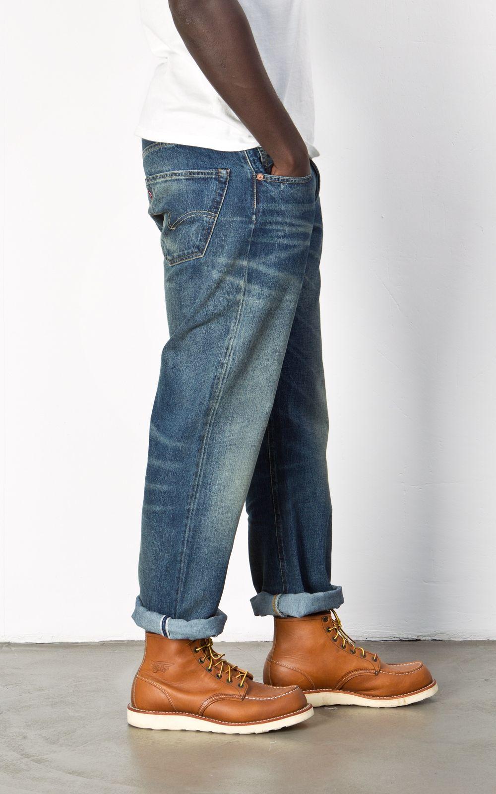 levi 39 s vintage clothing 1955 501 jeans barrel vintage clothing raw denim and red wing moc toe. Black Bedroom Furniture Sets. Home Design Ideas